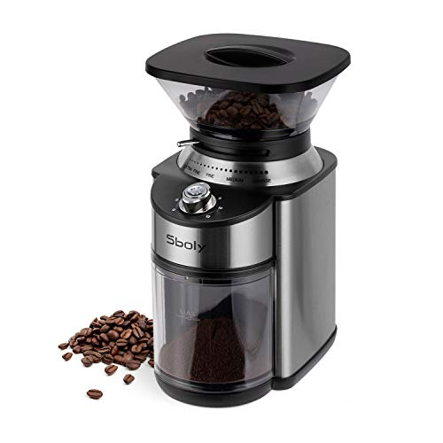 Elektrische Kaffeemühle Kegelmahlwerk, Sboly Kaffeemühle mit konischem Mahlwerk, verstellbare Edelstahlmühle mit 19 präzisen Mahleinstellungen, elektrische Kaffeemühle für Drip, französische Presse