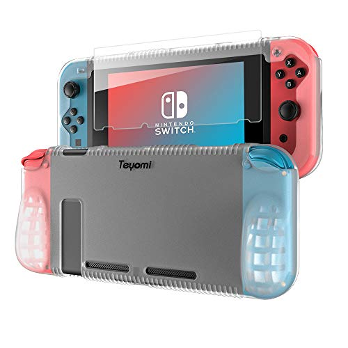 Teyomi Protective Silicone Case for Nintendo Switch, Grip Cover with Tempered Glass Screen Protector, 2 Storage Slots for Game Cards, Shock-Absorption & Anti-Scratch (Clear White)