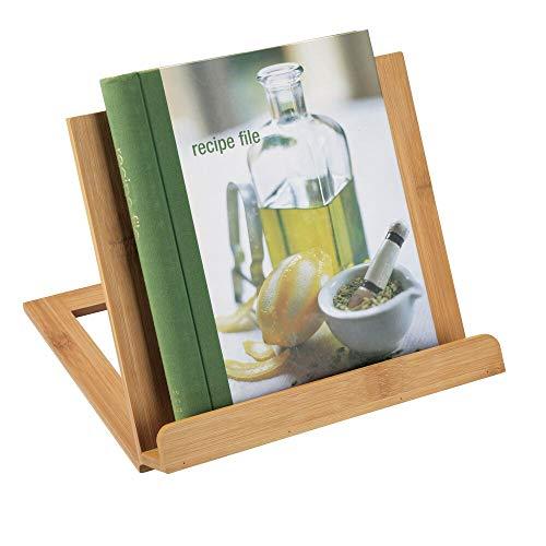 mDesign Atril de Madera – Atril para Libros Plegable con Cuatro Posiciones Diferentes – Ideal para apoyar Libros de Recetas en la Cocina – También Adecuado como Soporte para Tablet – Natural