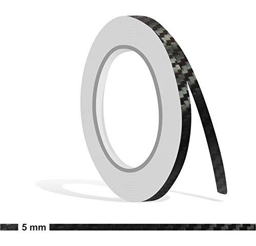 Siviwonder Zierstreifen 10m Carbon schwarz 5mm Glanz Zier Streifen Folie Aufkleber für Auto Boot Jetski Modellbau Vinyl Dekorstreifen
