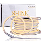 Shine Decor 50FT LED Neon Rope Lights, ETL-Listed AC110V-120V Dimmable Rope Lights Outdoor IP65 Waterproof, Flexible Neon LED Strip Light 3000K Warm White for Indoor Outdoor DIY Decoration(7x14.5mm)