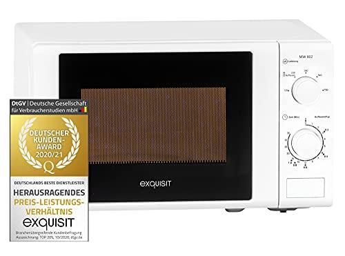 Exquisit Mikrowelle MW 802 / 700 W Leistung / 20 L Garraum / Inkl. Drehteller, Timer / weiß