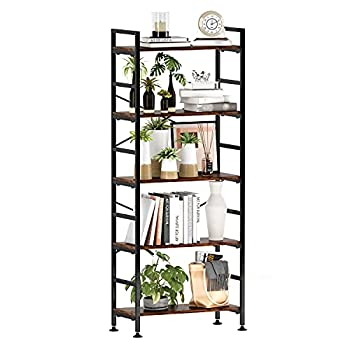 5-Tier Adjustable Tall Bookcase Rustic Wood and Metal Standing Bookshelf Industrial Vintage Book Shelf Unit Open Back Modern Office Bookcases