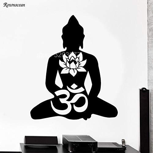 DLYD Buddha Kleber Aufkleber Aufkleber Wand Stoßstange Lotus Symbol Gott Buddhismus Yoga Innenraum Dekoration abnehmbare Flugzeuge 57x68cm