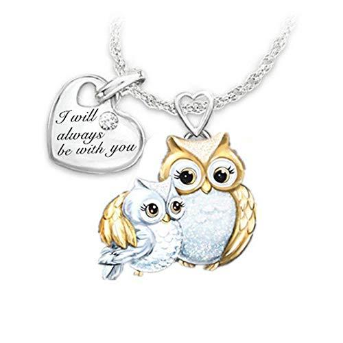 JXQ-N Niedliche Tier Anhänger Eule Mutter und Kind Zweifarbige Schriftzug Liebes Halskette Anhänger Halskette (Silber)
