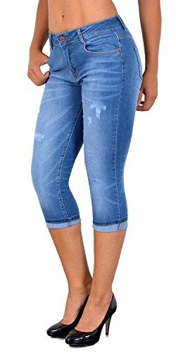 ESRA Damen Capri Jeans Hose Risse Kurze Jeans mit Blumenstickerei Hose Capri bis Übergröße J324