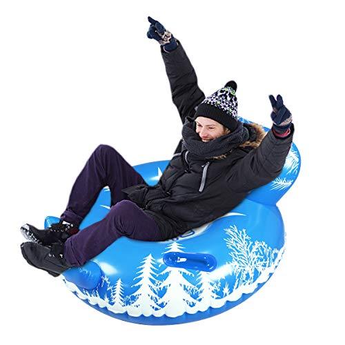 Tubo de nieve inflable, resistente tubo de nieve inflable trineo para niños y adultos, juguetes de nieve gigantes para deportes de invierno diversión (tubo de nieve de sofá 52 pulgadas)