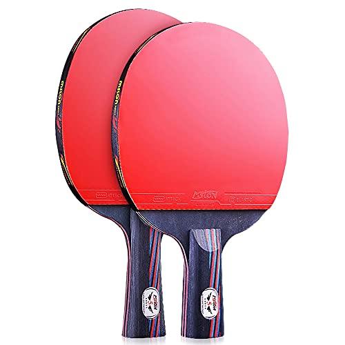 HXFENA Raquetas de Tenis de Mesa,Bate de Tenis de Mesa Profesional de 7 Capas 5 Estrellas Perfecto para Actividades Familiares Intermedias Y Clubes Deportivos/Como se muestra /