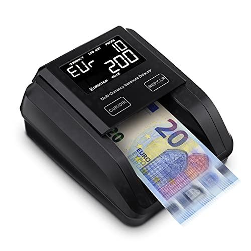 Conta Banconote, MUNBYN Rilevatore Banconote False Portatile, Contatore di Denaro Vertifica Soldi Falsi e Soldi Veri con Contraffazioni UV-MG-IR