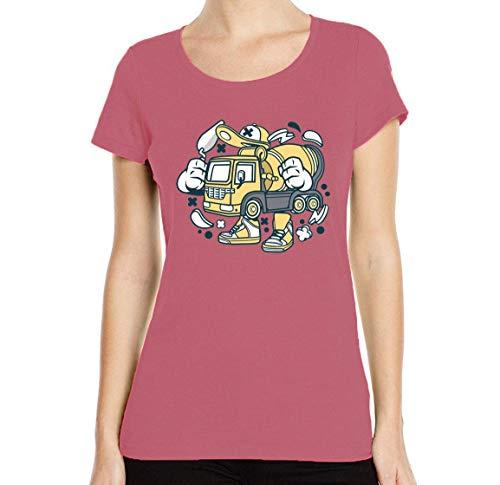 Iprints dames T-shirt cartoon styled constructie cement mixer truck ronde hals