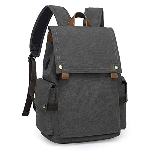 TAK Backpack Daypack Canvas Fashion Casual Large College School Rucksack with USB Port with 15.4 inches Laptop Compartment for Uni Office Everyday Travel Outdoor