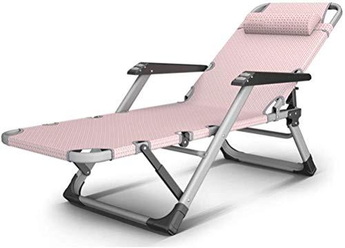 MTCWD Heavy Duty Muebles de jardín Conjuntos de sillas Tumbona jardín Que acampa Plegable de la Gravedad Cero Hamaca reclinable reclinables (Color : Pink)