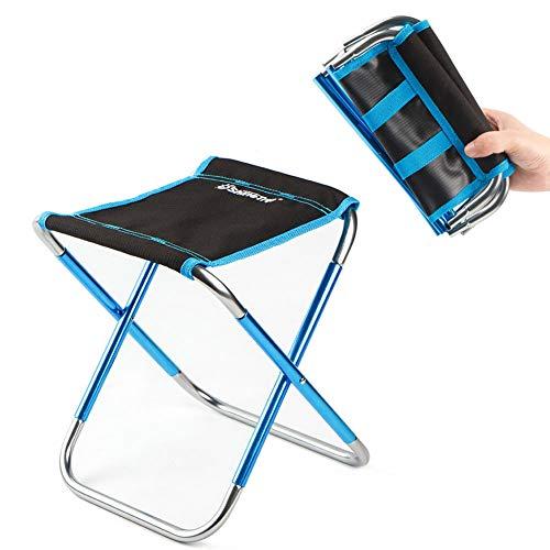Mini-tabouret pliant portatif - Chaise pliante d'extérieur - Livré avec un sac de rangement portatif en plein air pour BBQ, Camping, Pêche, Voyage, Randonnée, Jardin, Plage,Blue,9x10s11in