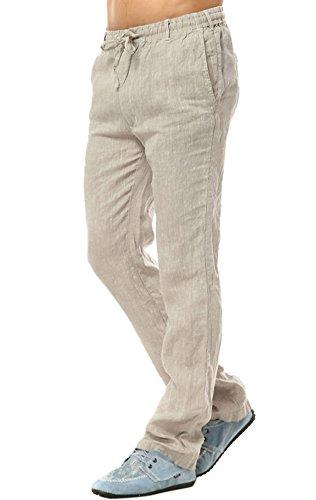 Insun Pantaloni Uomo Lino Pantaloni Casual Pantaloni Leggeri Estivi Beige 50
