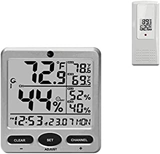 Ambient Weather WS-08 Wireless Indoor/Outdoor 8-Channel Thermo-Hygrometer with Daily Min/Max Display