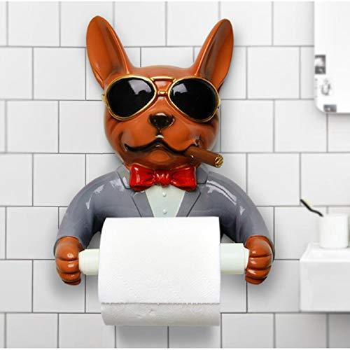 XMYZ 1 Uds Bandeja Soporte de Papel higiénico Caja de pañuelos de Resina de higiene Soporte de Toalla de Papel para el hogar Dispositivo de Carrete Estilo Perro marrón