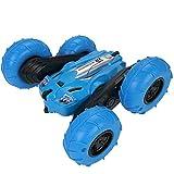 子供用RCスタントカー、2.4GHzグリーンリモートコントロールレーシングカー高速360度ローリング回転、4WDオフロードダブルサイドフリップ360°回転レーシングカーおもちゃの車,ブルー