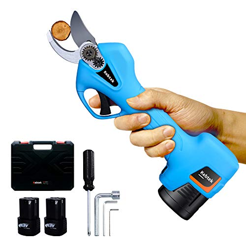 Kebtek Pruning Shears Battery Powered, Cordless Electric Pruning Shears with 2 Pack Backup Rechargeable 2Ah Lithium Battery Powered Tree Branch Pruner, 25mm[0.98inch] Cutting diammeter (Blue)