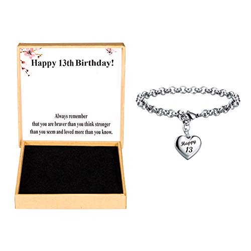 Birthday Gifts For Girls For 13 Year Old Girl 13th Birthday Bracelet Heart Charm Adjustable Jewelry for Her