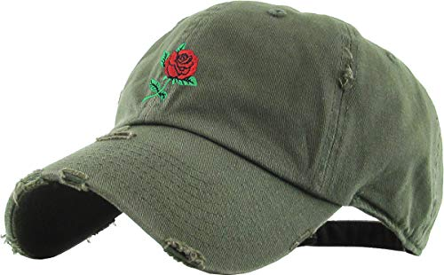 KBSV-124V OLV Rose Vintage Distressed Dad Hat Baseball Cap Polo Style Adjustable
