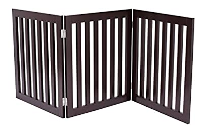 Internet's Best Traditional Dog Gate - 3 Panel - 24 Inch Step Over Fence - Free Standing Folding Z Shape Indoor Doorway Hall Stairs Pet Puppy Gate - Fully Assembled - Espresso - MDF