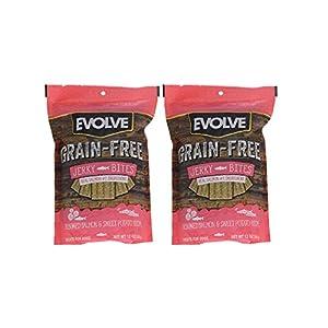 Evolve GrainFree Dog Treats: Salmon & Sweet Potato Jerky Bites, 2 (12 Ounce Pack) Bundle