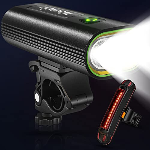 2021 Upgraded 7000 Lumen Super Bright Big LED Bike Lights Front and Back,Powerful USB Rechargeable Bicycle Headlight 16 Modes Runtime 18+ Hours,Waterproof Bike Headlight Taillight for Cycling Mountain