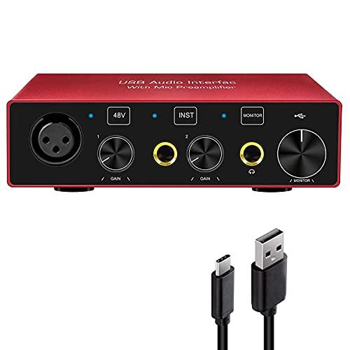 Interfaz de audio USB, interfaz de audio de computadora para guitarra...