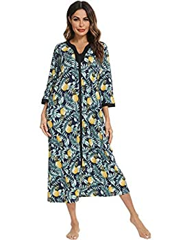 House Dresses for Womens Robe Long Zip Up House Coat Half Sleeve Night Gowns Comfy Sleepwear Print Loungewear Mumu Dresses old lady nightgown mothers day gifts
