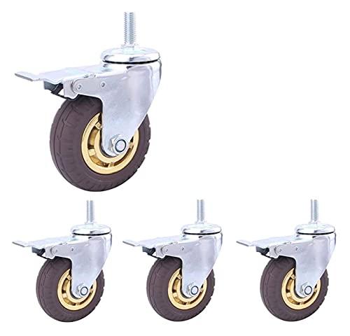Guuisad Ruedas giratorias, 4 PCS Hilo M12 Ruedas de protección pesada Ruedas de goma neumática Silencio Silencio Silencio para muebles e industriales Ruegos de vástago para carro Trolley (Color: Gris,