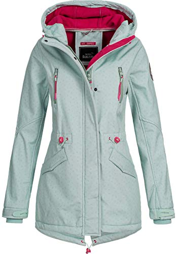 Sublevel Damen Softshelljacke LSL-368 Kurzmantel Kapuze Misty Mint-Dull Mint M