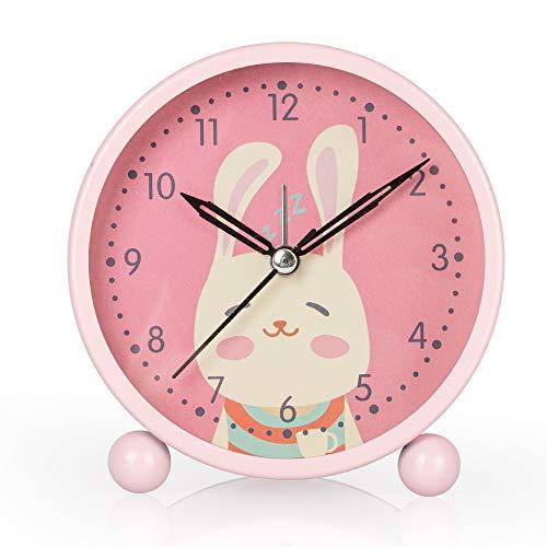 KOROTUS COLLECTION Kinderwecker mit Nachtlicht, stille Hasenuhr, Mädchenwecker, Laute Uhr, einfach zu bedienende Kinderzimmerdekoration(Rosa)