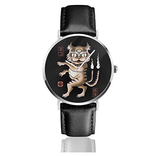 Relojes Cuarzo Cuero Banda Negra Colección Joven Regalo Unisex Business Casual Yokai Cat