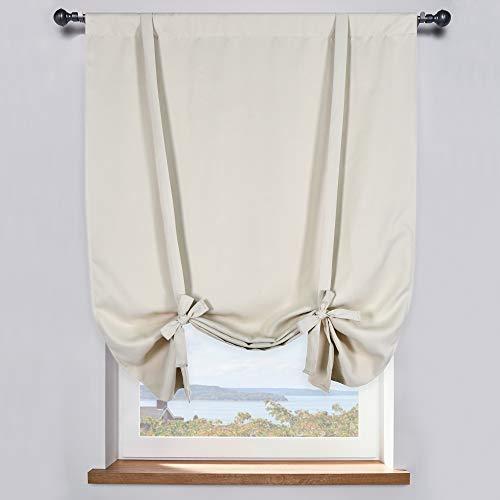 Cream Beige Room Darkening Tie-Up Valance Curtain - Decoration Balloon Shade Corner Window Drape (42 inches W x 63 inches L,1 Panel)