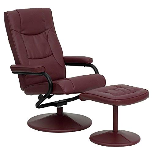 Flash Furniture Contemporary Multi-Position Recliner and Ottoman with Wrapped Base in Burgundy LeatherSoft