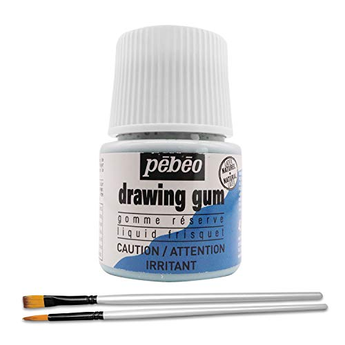 Pebeo Drawing Gum - Masking Fluid for Watercolor Painting and Various Art Projects - Bundled with Moshify Applicator Brush Set