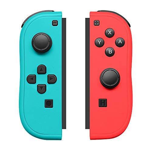 Substituição para controle de joycon para Nintendo Switch, controles esquerdo e direito com alças Joy con, Blue and Red