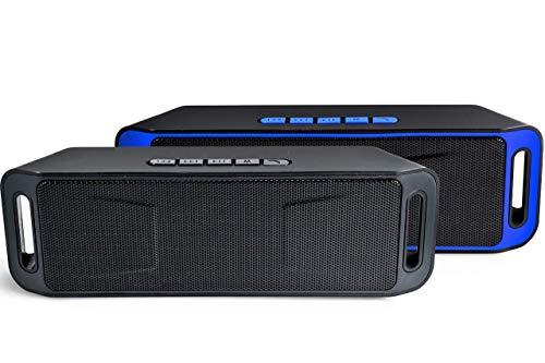 Arikaree© Cassa Bluetooth Portatile 5.0 Suono Grande e Potente, Altoparlante Stereo Autonomia 9 ore, con Microfono, Batteria al litio per Smartphone, Pc, AUX, TM, USB, Radio, Speaker, (Black)