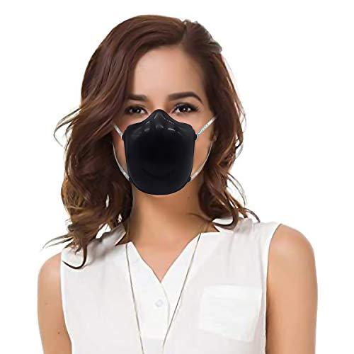 Verstelbare Elektrische Respirator, Vervangbaar Filter Katoen, Afneembare Half-face Stofdichte Ma-sk, Elastische Lijm Katoen Oor Haken Volwassen-Zwart