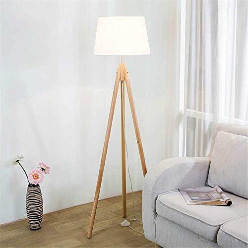 CLJ-LJ Lámpara de pie de madera con triple pata de soporte de pie con luz y pantalla de tela para sala de estar y dormitorio, luz LED de suelo (color: madera, tamaño: 38 x 38 x 158 cm)