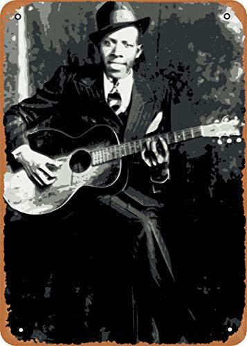 FLmiling Guitar Legends Robert Johnson Plaque Poster Metal Tin Sign Retro Vintage 8x12 Inch Wall Decor
