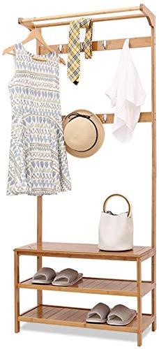 XAGB Perchero de bambú para dormitorio, secado de madera, con zapatero (tamaño: 60 cm)