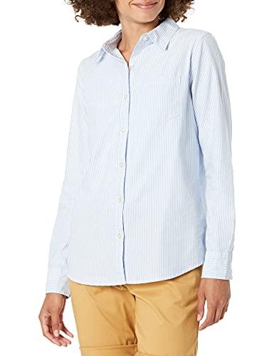Amazon Essentials - Camisa Oxford de manga larga y corte clásico para mujer, Azul (Blue Stripe Bst), US L (EU L - XL)