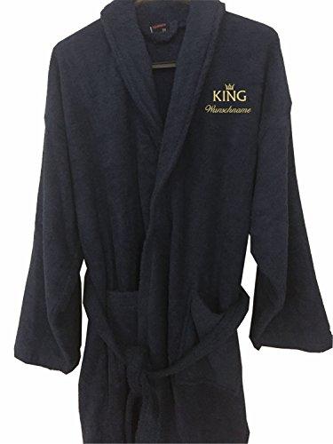 Nashville print factory Bademantel Morgenmantel Bestickt mit Ihrem Wunschname und Motiv/King & Queen/Krone Gold Partner-Look Sauna Bad Name (M/L, King + Name)