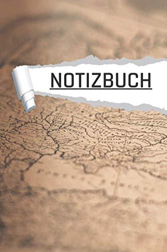NOTIZBUCH: Landkarte Antik Motiv für den Schulanfang, Uni und Büro I Dot Grip I 120 Seiten I DIN A5 I Notizheft I matt