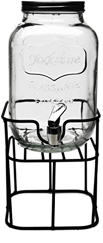 Circleware 69122 Mini Yorkshire Mason Jar Glass Beverage Drink Dispenser with Black Metal Stand & Lid Glassware for Water, Iced Tea Kombucha, Punch and All Type of Cold, 1 Gallon
