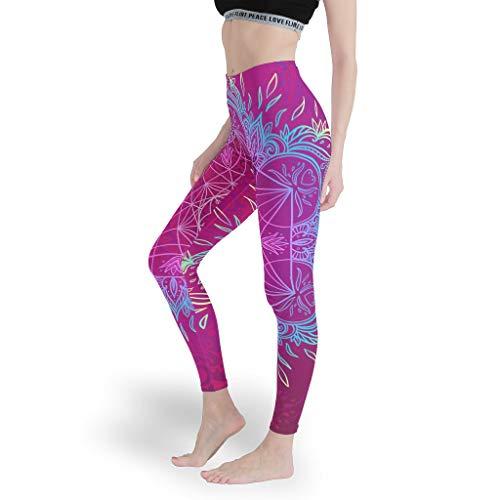 Dofeely dames lotus yoga loopbroek pants gym basketbal tights capri veilig hoge taille sport lotuspatroon joggingbroek Muay Thai