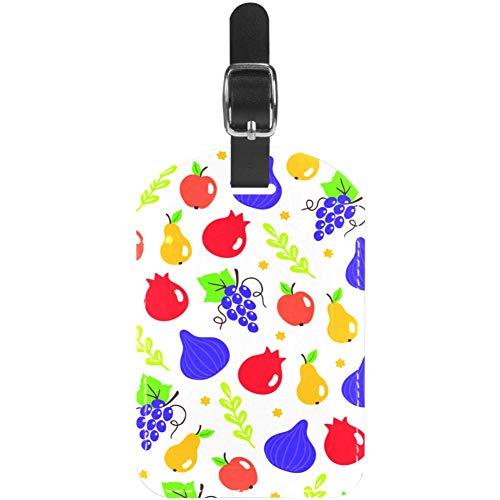 Gepäckanhänger aus Leder, Feige, Granatapfel, Trauben, Birne, Apfel, Reise-Etiketten, 1 Stück