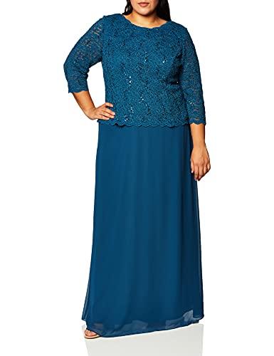 Alex Evenings Women's Long Mock Dress with Full Skirt (Petite and Regular Sizes), Peacock, 14P
