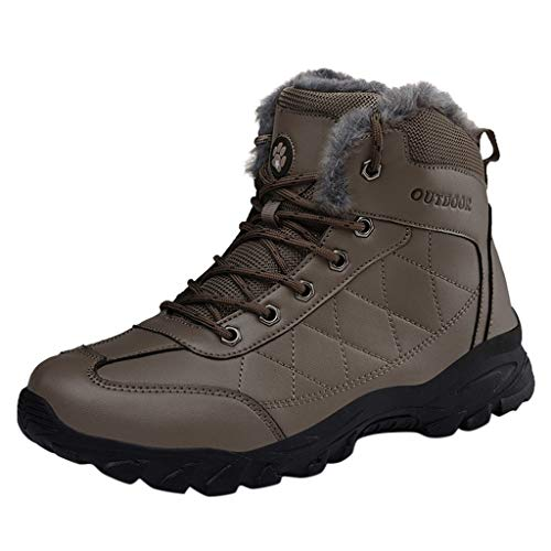 Vovotrade Trekking wandellaarzen, lederen laarzen, warm gevoerd, met pluche, voor heren, waterdicht, antislip, outdoor-sneaker, sportschoenen